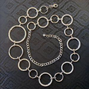 (M-XL) Belt Silver Rings & Rhinestones Adjustable
